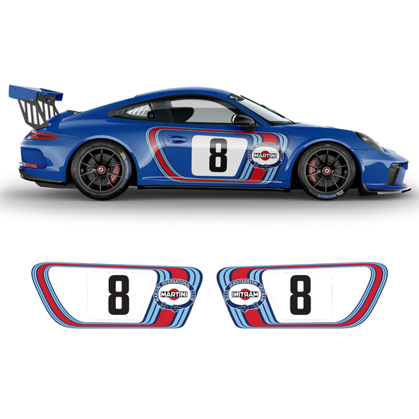 Retro Style Martini Racing Side Graphic for Carrera 1999 - 2020 (996/997/991/992)