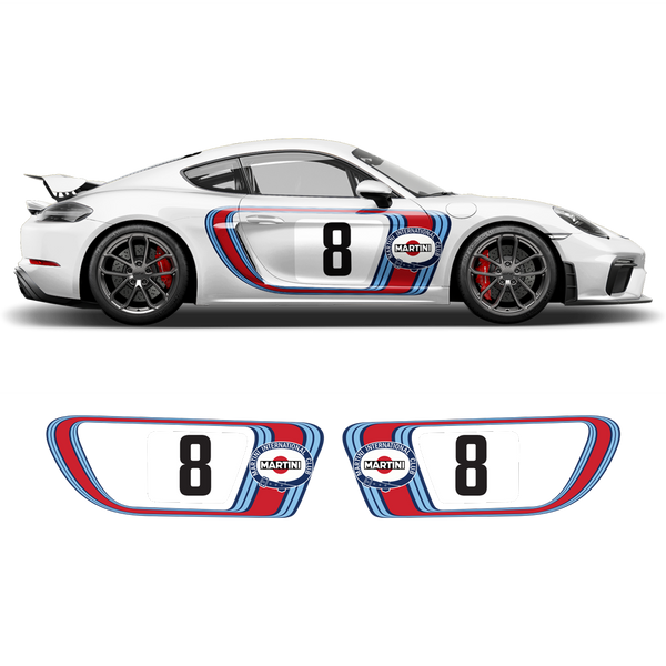 Retro Style Martini Racing Side Graphic for Cayman / Boxster 1996 - 2021