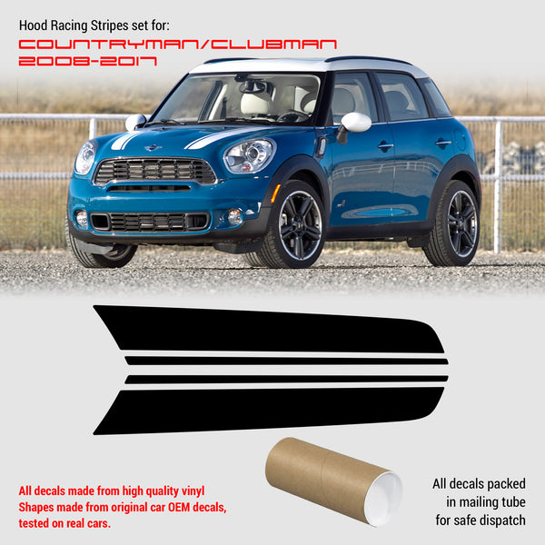 Mini Cooper Clubman Countryman Hood Stripes 2008 - 2017