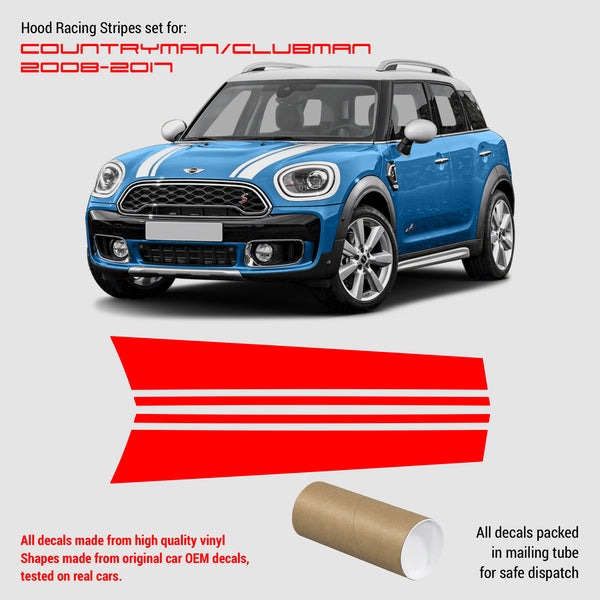 mini cooper clubman Countryman hood stripes