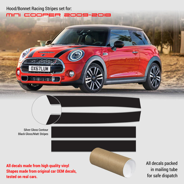 Mini Cooper 2007-2013 Hood Bonnet and Trunk Stripes with Contours