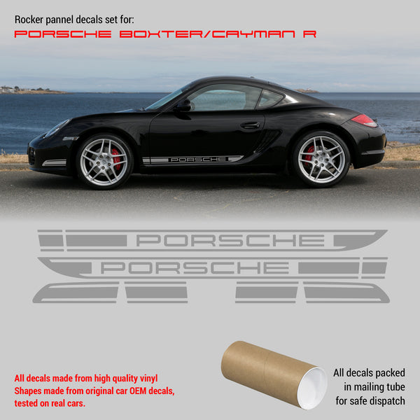 Porsche Cayman R Boxster 2005 - 2013 rocker panel graphics set in one color