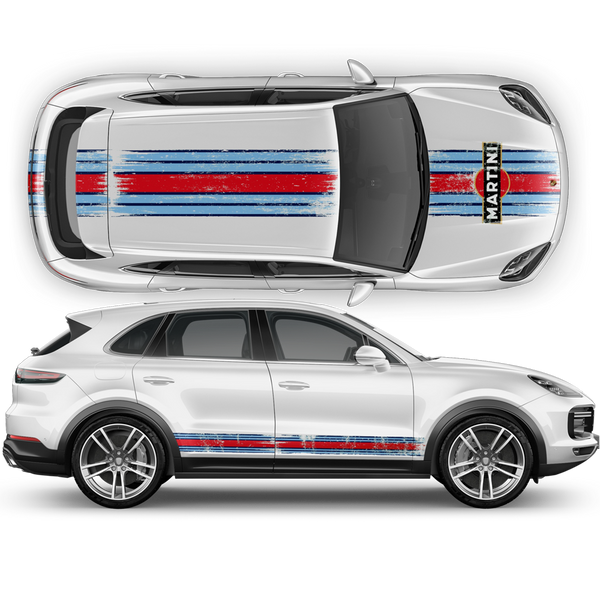 Martini Scratched Racing Stripes for Cayenne / Macan