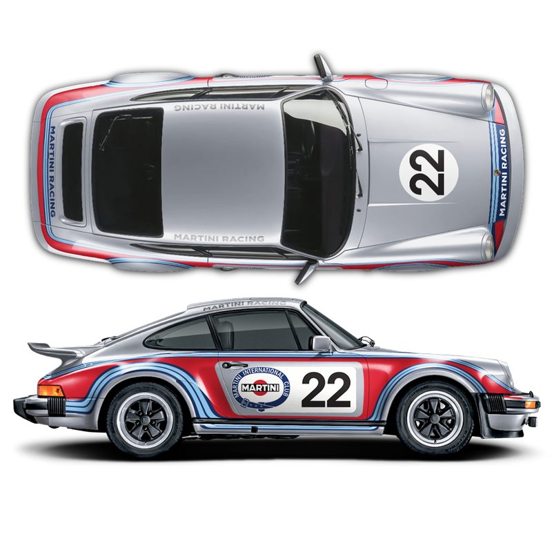 CLASSIC MARTINI Sides GRAPHIC SET for CARRERA 911 (930) 1975 - 1989