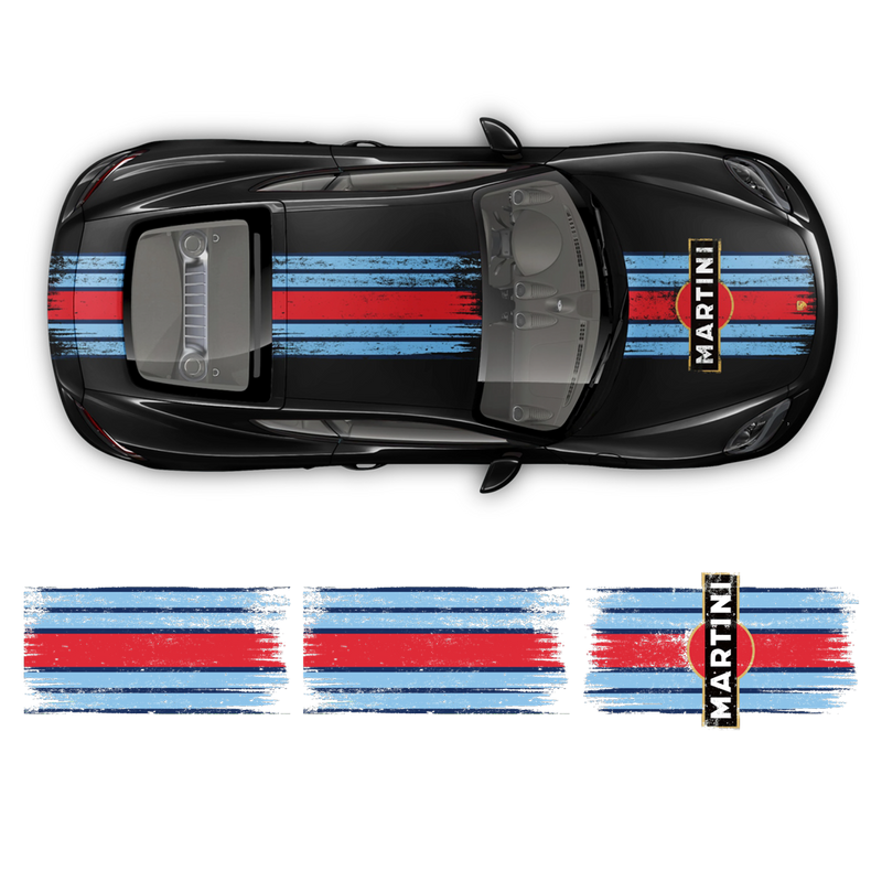 Scratched Martini Racing Stripes, for Cayman / Boxster