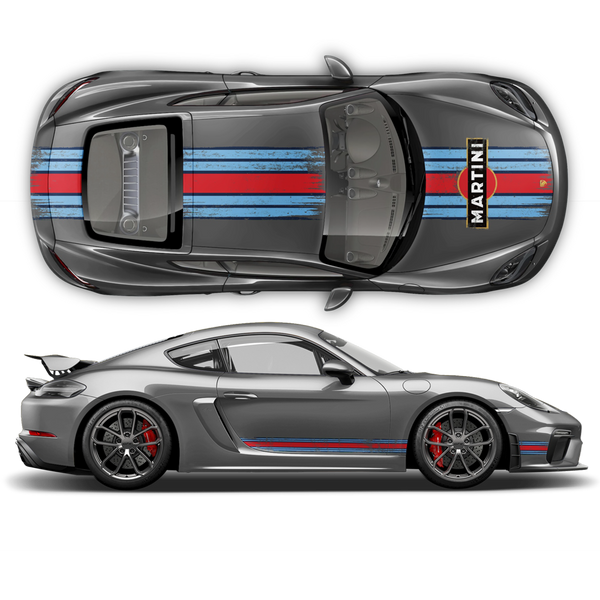 Scratched Martini Racing Stripes for Cayman / Boxster