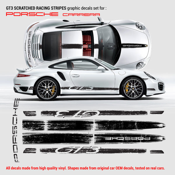 GT3 Scratched Racing Stripes Graphic decals set for Porsche Carrera