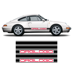 Bold Side Stripes in two colors for Carrera 1979 - 1996 black red