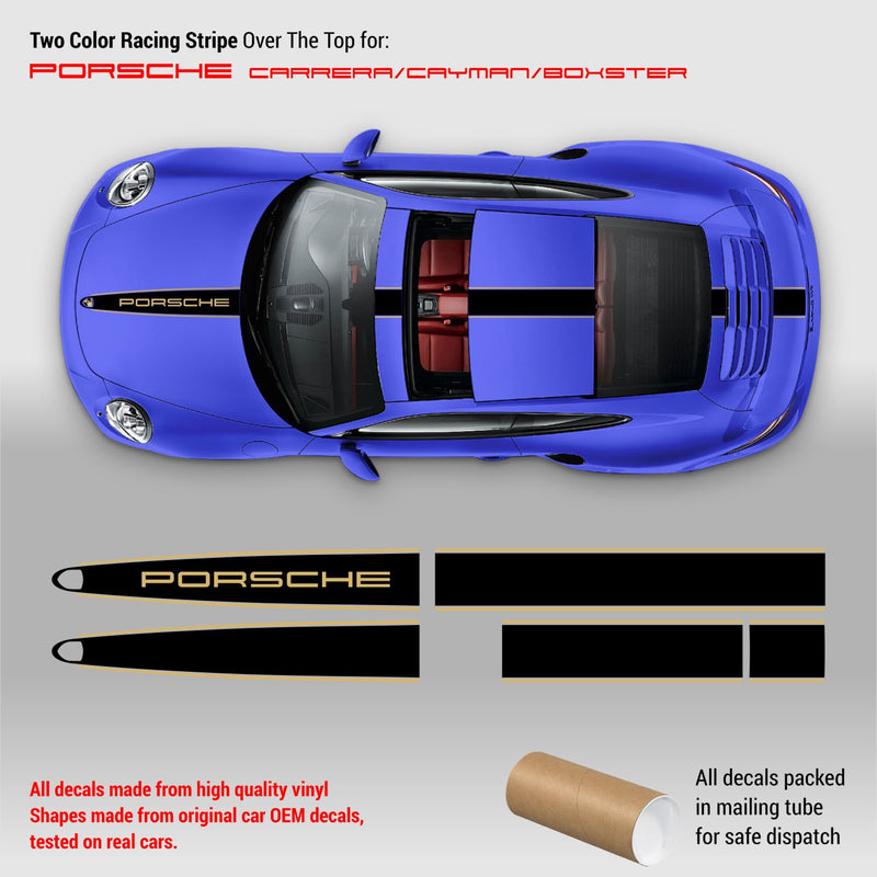 Two Colors Racing Stripes Over The Top for Porsche Carrera / Cayman / Boxster