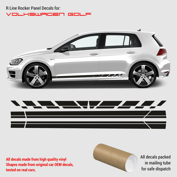 VW Golf 7 R LINE rocker panel decals 2012 - 2019