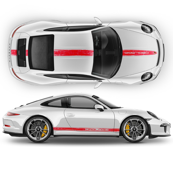 Scratched Porsche Carrera / Cayman / Boxster Racing Stripes set 2005 - 2018