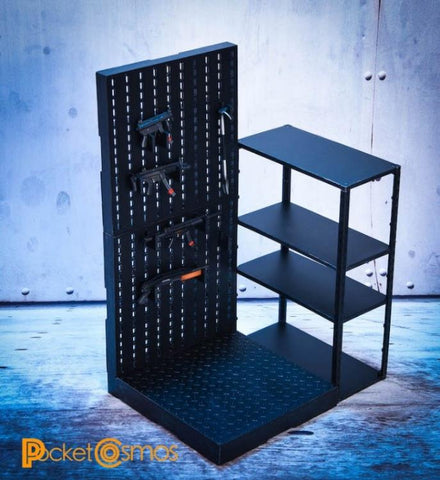 Pre-Order - PCToys Weapon Rack & Shelves 1/12 Scale Accessory Set ($39.95)