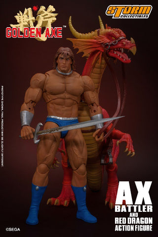 "(Storm Collectibles Ax Battler & Red Dragon ""Golden Axe"" Action Figure Set"