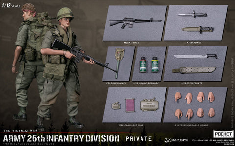 Pre-Order - DAMTOYS  1/12 POCKET ELITE SERIES - ARMY 25th Infantry Division Private