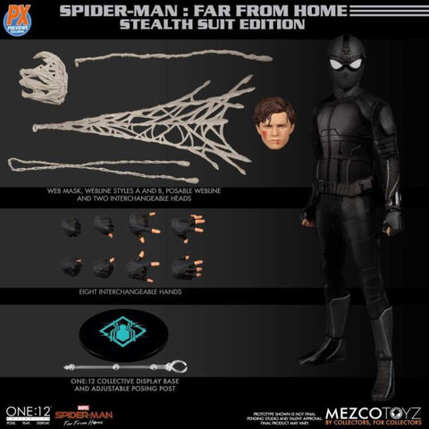 Mezco One:12 PX Exclusive Spiderman Stealth Suit Figure (Far From Home)