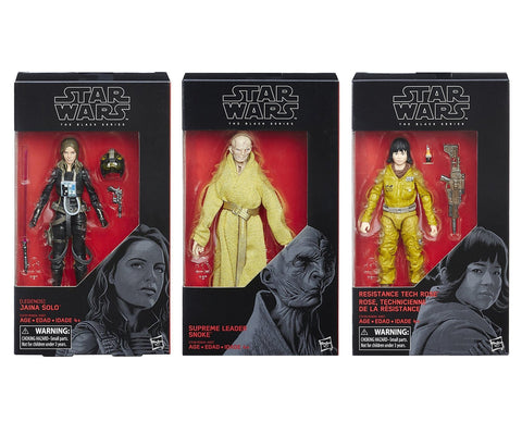 Star Wars Black Series - (3-figure Set) Jaina Solo, Snoke, Rose 6-Inch Figures