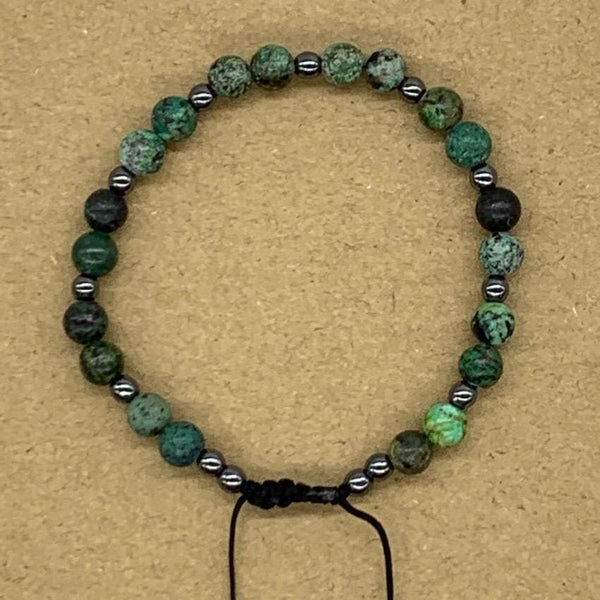 Crystal Bracelet with Hematite Spacers - African Turquoise