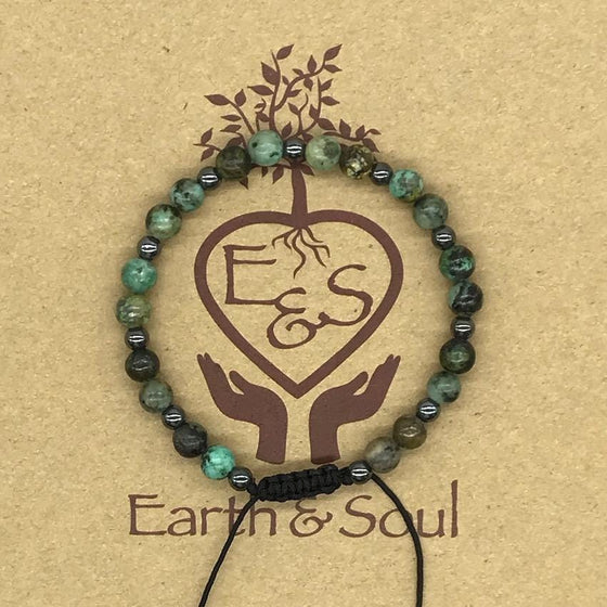 African Turquoise Crystal Bracelet with Hematite Spacers
