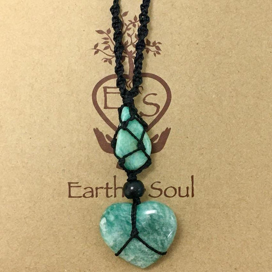 Amazonite Crystal Heart Necklace