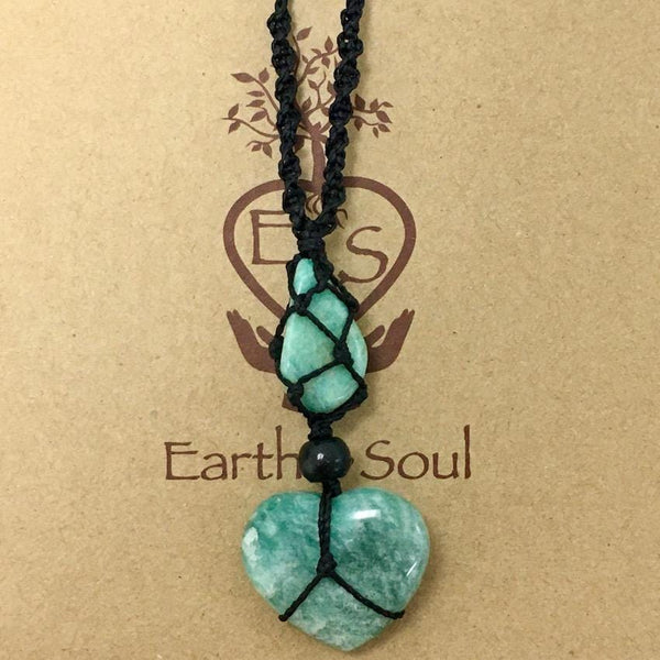 Amazonite Crystal Heart Necklace - Black cord