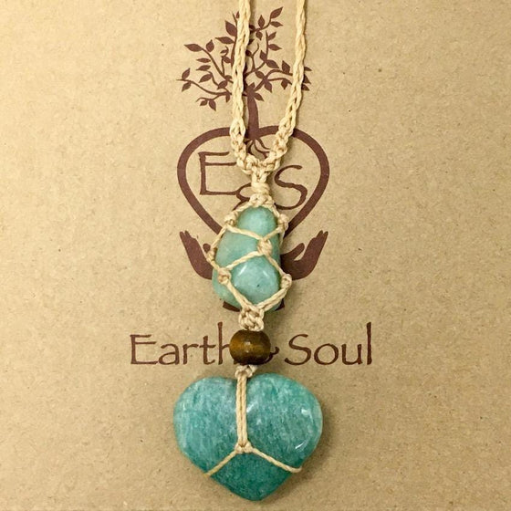 Amazonite Crystal Heart Necklace - Natural cord