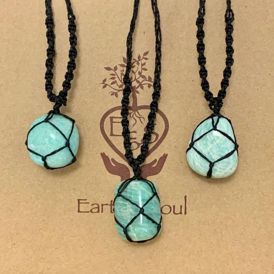 Amazonite Polished Crystal Necklace - Black