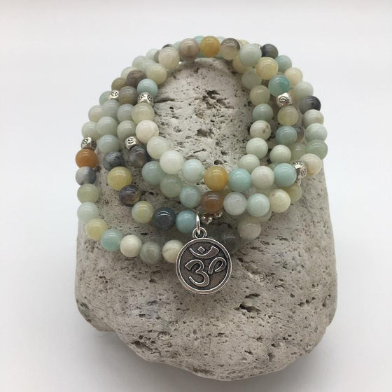 Amazonite 6mm Stone Bracelet with Om Charm