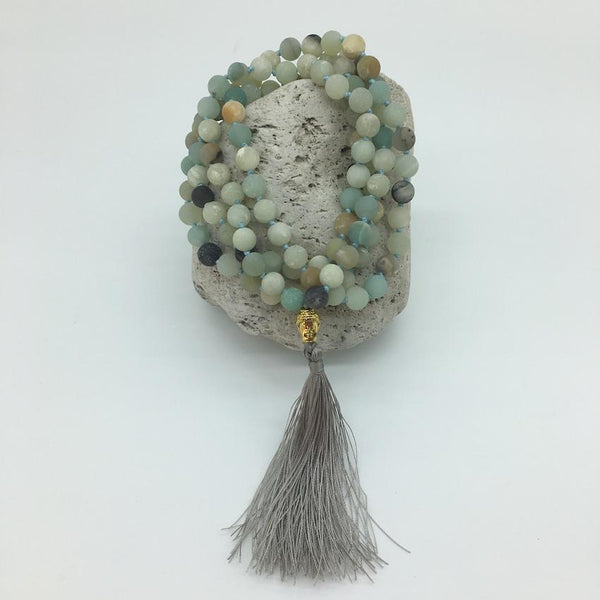 Amazonite 8mm Mala Hand Knotted Necklace with Buddha Charm and Decorative Tassle