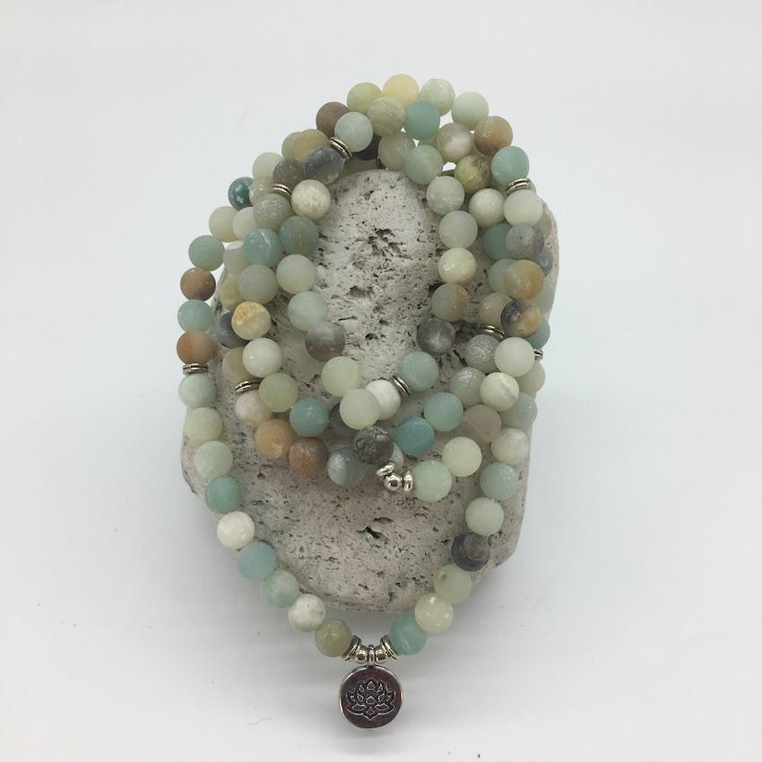 Amazonite 8mm Stone Mala Necklace with Lotus Charm
