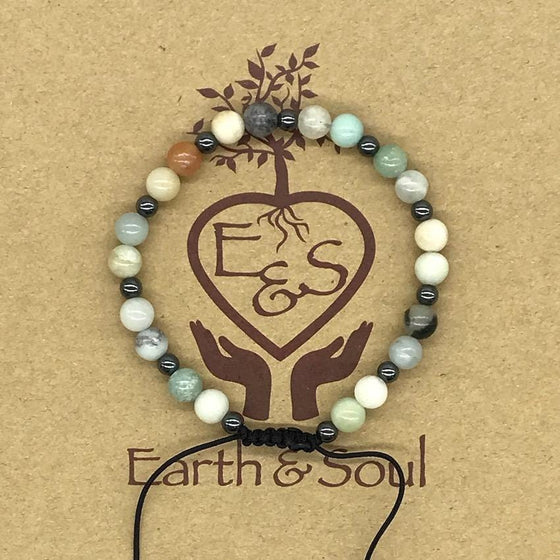 Amazonite Crystal Bracelet with Hematite Spacers