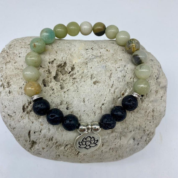 Amazonite and Lava Rock 8mm Stone Healing Bracelet with Lotus Charm