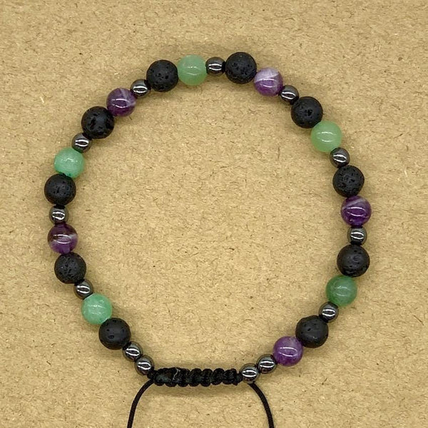 Crystal Bracelet with Hematite Spacers - Lava Rock, Amethyst and Aventurine