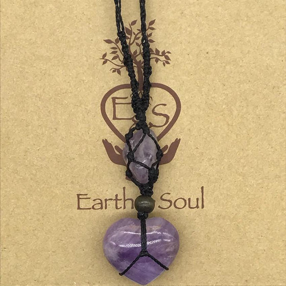 Amethyst Crystal Heart Necklace - Black cord