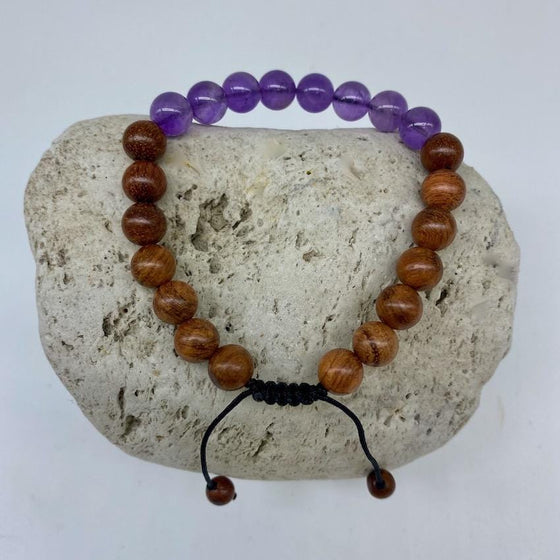 Amethyst and Sandalwood 8mm Stone Bracelet - Adjustable