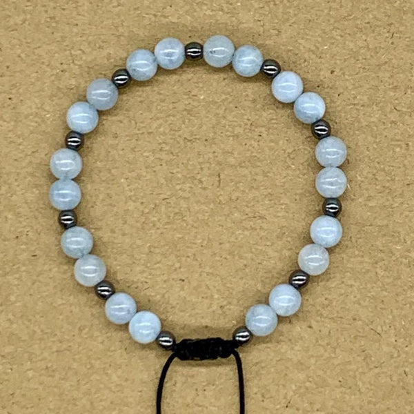Crystal Bracelet with Hematite Spacers - Aquamarine