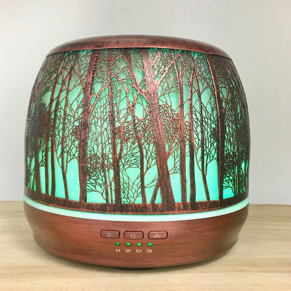 Aroma Diffuser Lantern - Brushed Bronze Large 500ml green light