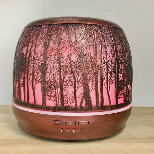 Aroma Diffuser Lantern - Brushed Bronze Large 500ml pink light