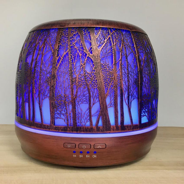 Aroma Diffuser Lantern - Brushed Bronze Large 500ml purple light