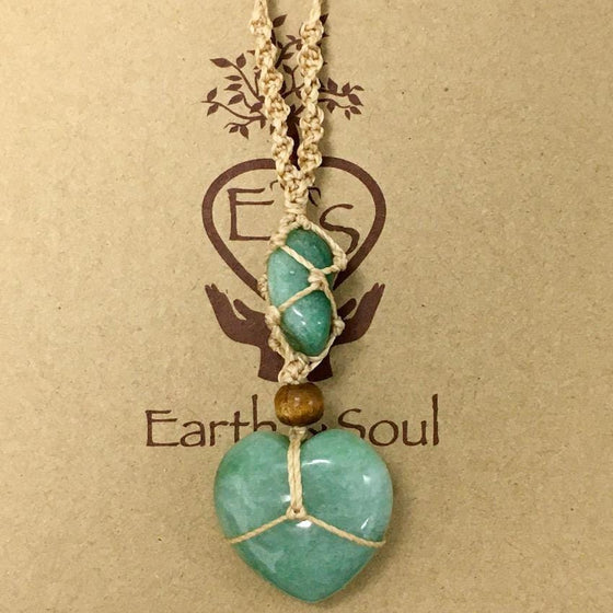 Aventurine Crystal Heart Necklace - Natural cord