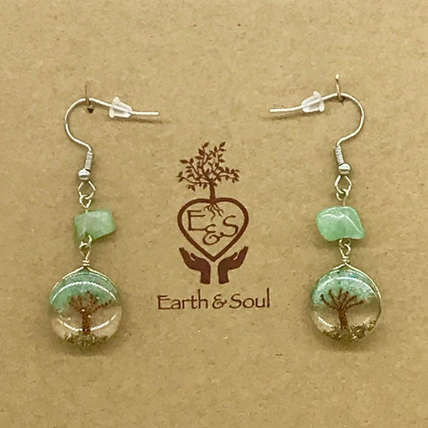 Tree of Life Drop Earrings - Aventurine