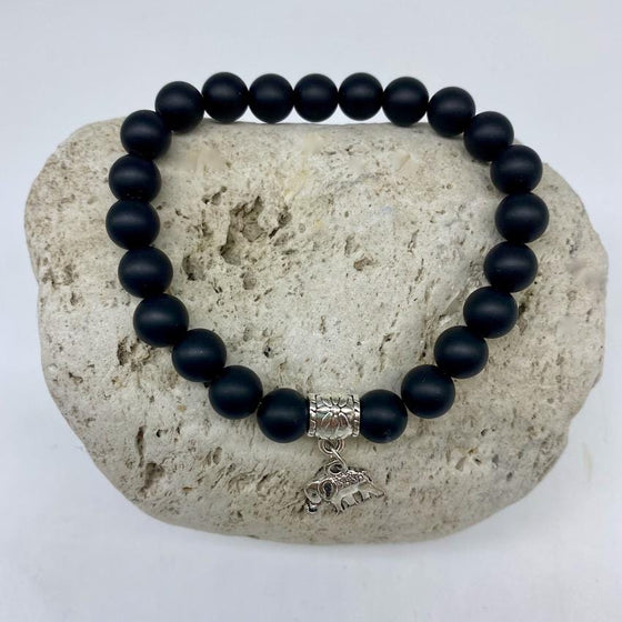 Black Agate 8mm Stone Bracelet with Elephant Charm