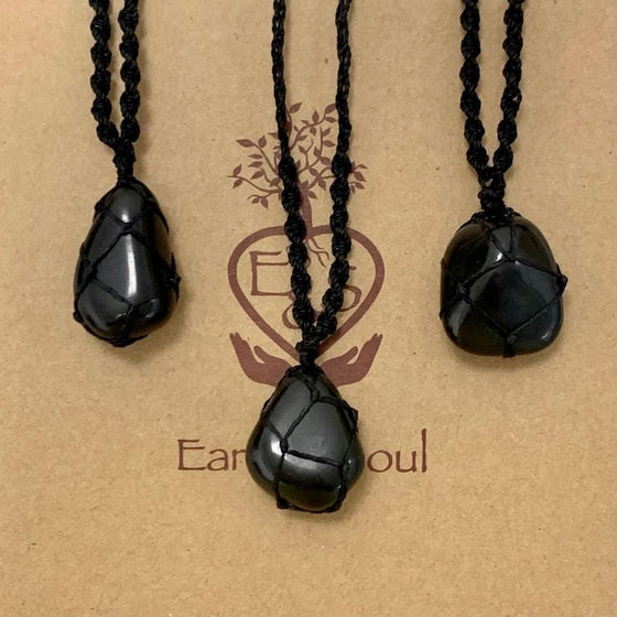Black Obsidian Polished Crystal Necklace