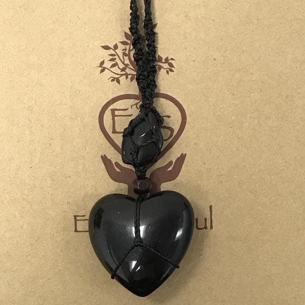 Black Obsidian Crystal Heart Necklace