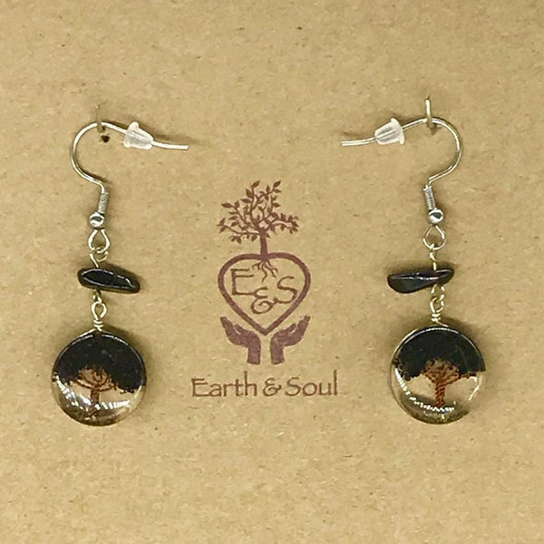 Tree of Life Drop Earrings - Black Obsidian