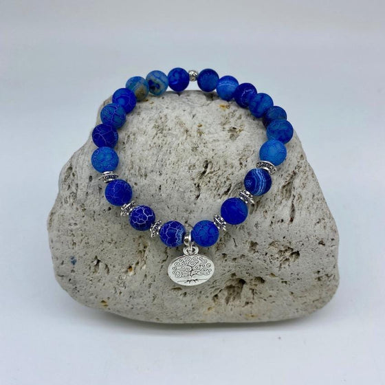 Blue Crackle Agate 8mm Bead Bracelet Earth and Soul Charm