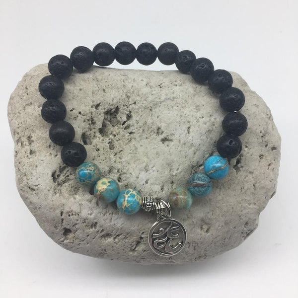 Blue Imperial Turquoise and Lava Rock 8mm Bead Healing Bracelet with Om Sign Charm