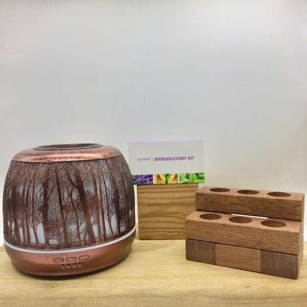 Bundle - Lantern Large 500ml Brushed Bronze | doTERRA | Wooden Stand