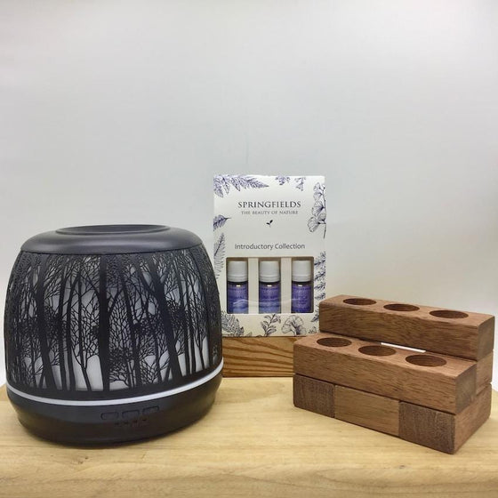 Bundle - Lantern Large 500ml Black | Springfields | Wooden Stand