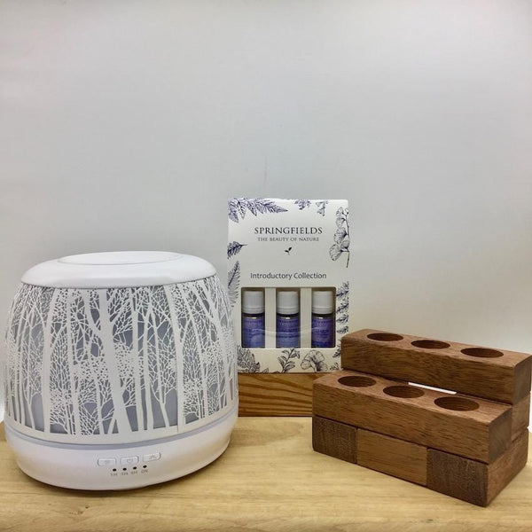 Bundle - Lantern Large 500ml White | Springfields | Wooden Stand