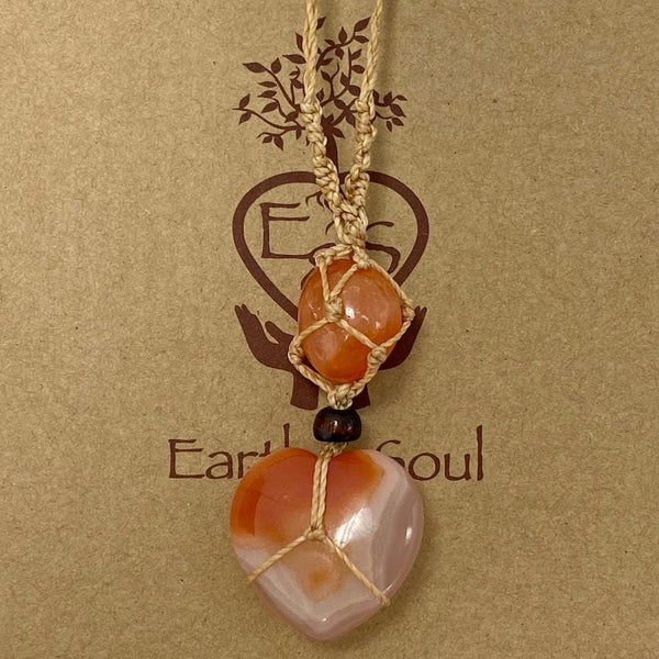 Crystal Heart Necklace Carnelian -  Natural cord